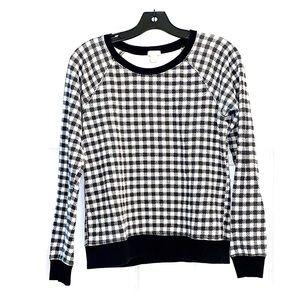 JCREW Black & White Gingham Sweater - Small
